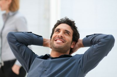Smiling and relaxed man in counselling