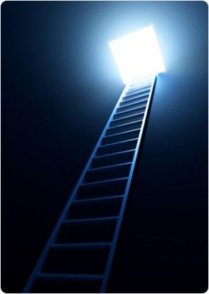 Ladder in a dark room heading towards the exit